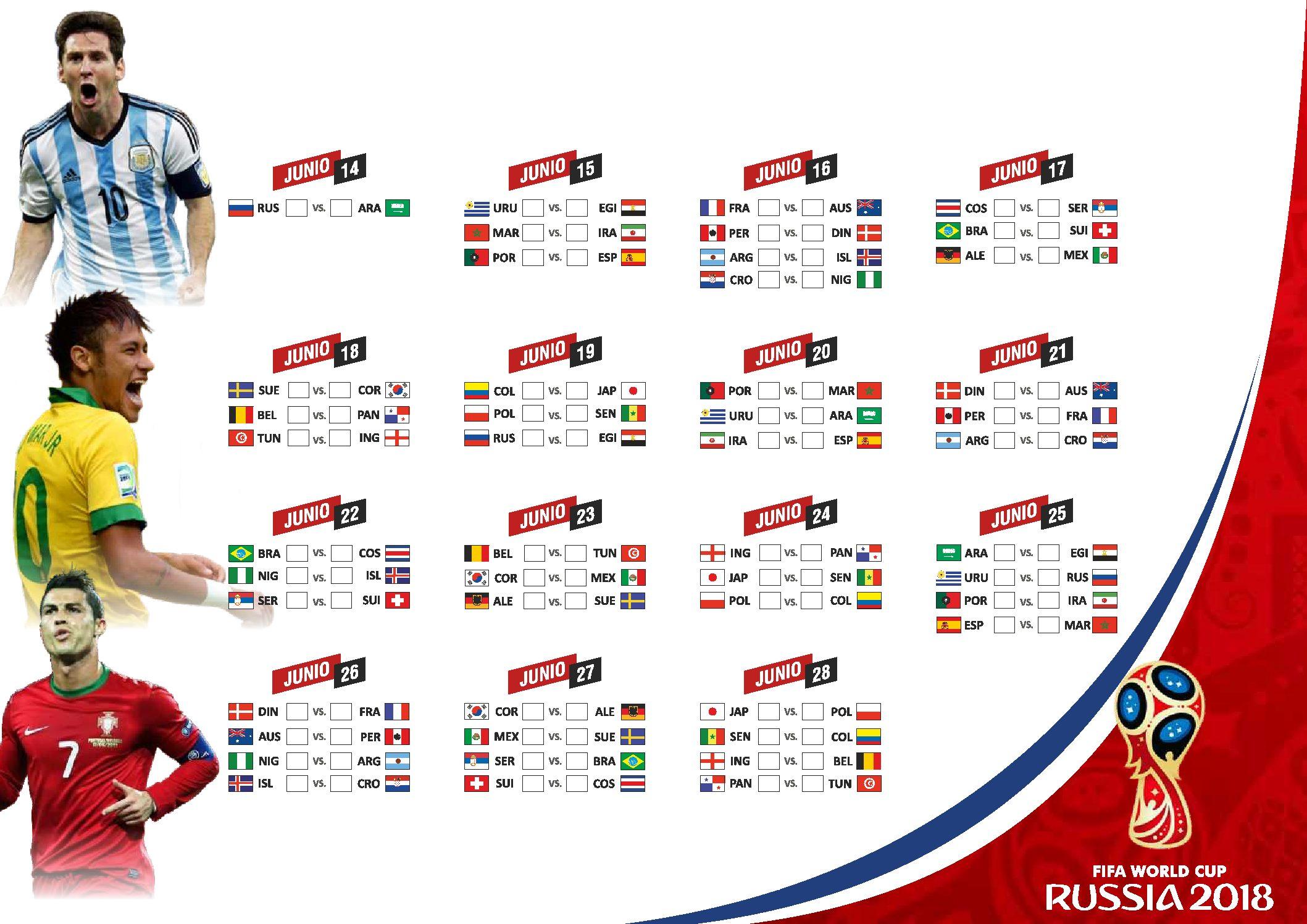 Poster Calendario Primera Fase Mundial de Futbol